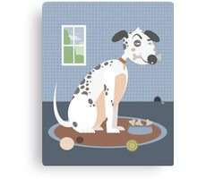 Dog with a bone in his mouth Canvas Print