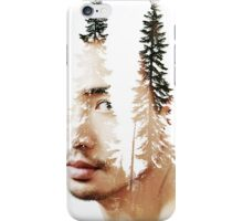 Double exposure portrait of a bearded guy and tree iPhone Case/Skin