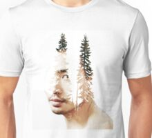 Double exposure portrait of a bearded guy and tree Unisex T-Shirt