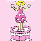 Happy Birthday, lady in pink, on giant cake, holding cupcakes. by KateTaylor