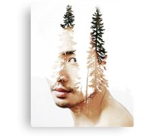 Double exposure portrait of a bearded guy and tree Canvas Print