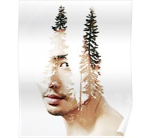Double exposure portrait of a bearded guy and tree Poster