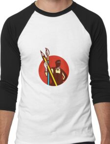 Artist Painter Holding Pencil Paintbrush Circle Retro Men's Baseball ¾ T-Shirt