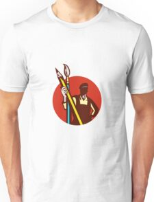 Artist Painter Holding Pencil Paintbrush Circle Retro Unisex T-Shirt