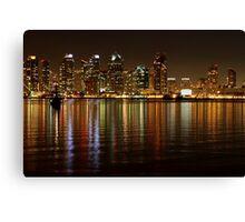San Diego Skyline Night Canvas Print