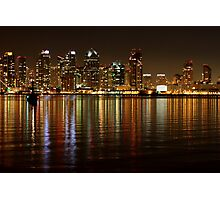 San Diego Skyline Night Photographic Print