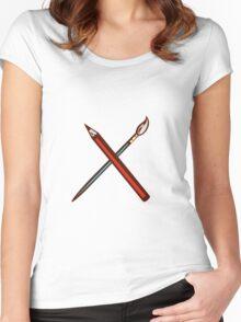 Crossed Pencil Artist Brush Retro Women's Fitted Scoop T-Shirt