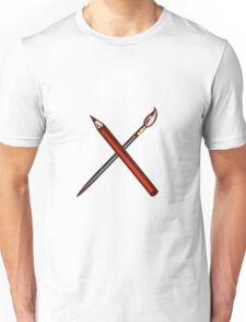 Crossed Pencil Artist Brush Retro Unisex T-Shirt
