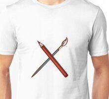 Crossed Pencil Artist Brush Retro Unisex T-Shirt