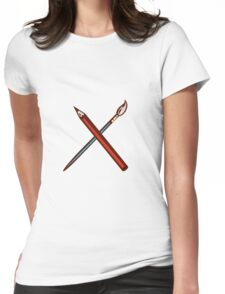Crossed Pencil Artist Brush Retro Womens Fitted T-Shirt