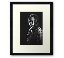 sad woman portrait B&W Framed Print