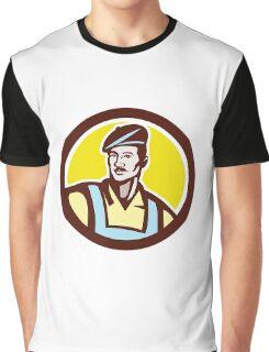 French Artisan Wearing Beret Circle Retro Graphic T-Shirt
