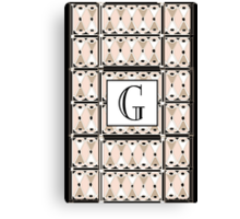 1920s Pink Champagne Gatsby Monogram letter G Canvas Print