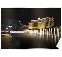 Bellagio  Fountain show side view Poster