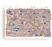Illustrated map of Berlin-Mitte. Red Canvas Print
