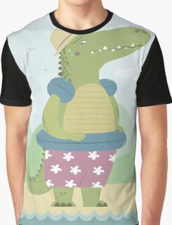 Alligator on the beach Graphic T-Shirt