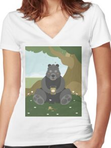 Bear with a jar of honey Women's Fitted V-Neck T-Shirt