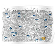 Illustrated map of Berlin-Mitte. Black & White Poster