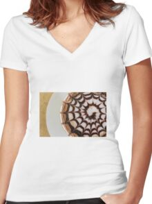Cappuccino Women's Fitted V-Neck T-Shirt