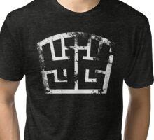 SOLDIER symbol white grunge Tri-blend T-Shirt