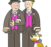 Two grooms and a dog civil union card for men. by KateTaylor