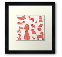 dogs - coral Framed Print