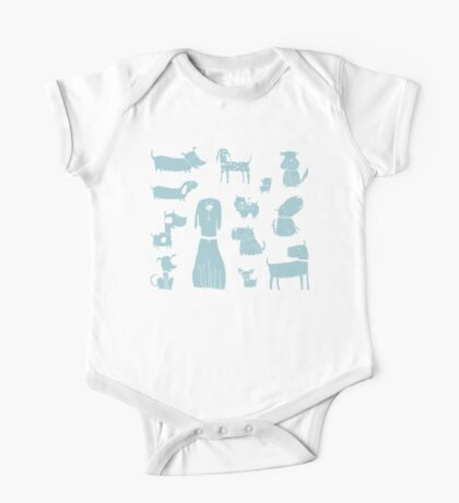 dogs - pale blue One Piece - Short Sleeve