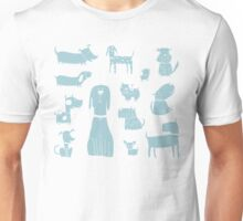 dogs - pale blue Unisex T-Shirt