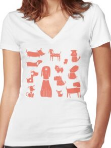 dogs - coral Women's Fitted V-Neck T-Shirt