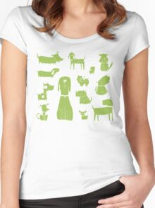 dogs - green Women's Fitted Scoop T-Shirt