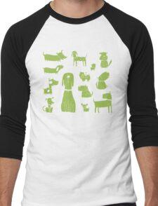 dogs - green Men's Baseball ¾ T-Shirt