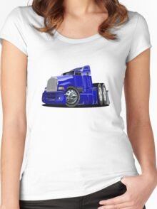 Cartoon semi-truck Women's Fitted Scoop T-Shirt