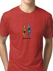 Kayak Design - with Paddle On text - blue and orange kayaks Tri-blend T-Shirt