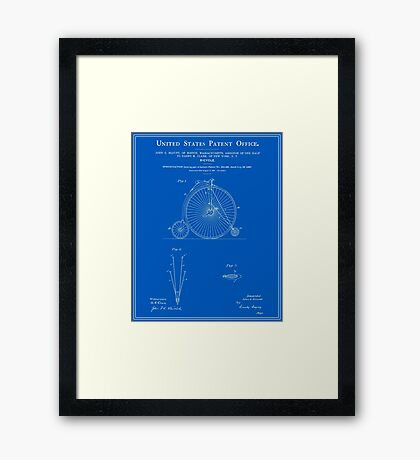 High Wheel Bicycle Patent - Blueprint Framed Print
