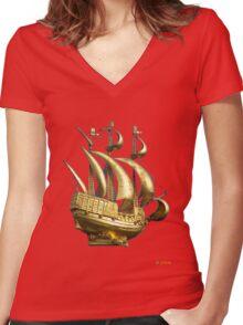 Golden Sail Dress Women's Fitted V-Neck T-Shirt