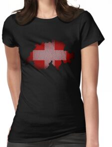 Switzerland Flag Map Womens Fitted T-Shirt
