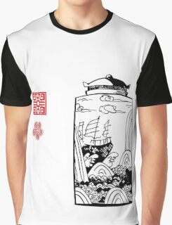 Ship at sea, Vase, Schiff in Landschaft, Sea, China, Ornamente Graphic T-Shirt