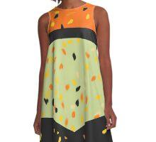 orange black and sage speckled dress A-Line Dress