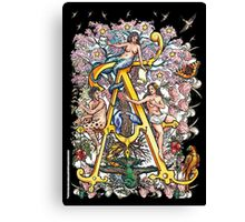 """The Illustrated Alphabet Capital  A  """"Getting personal"""" from THE ILLUSTRATED MAN Canvas Print"""