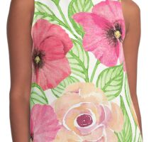 Watercolor Flowers and Leaves Contrast Tank