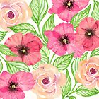 Watercolor Flowers and Leaves by Natalie Kinnear