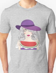 Beautiful young woman in had and watermelon Unisex T-Shirt