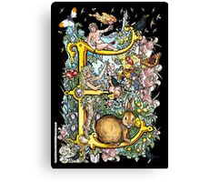 """The Illustrated Alphabet Capital  E  """"Getting personal"""" from THE ILLUSTRATED MAN Canvas Print"""