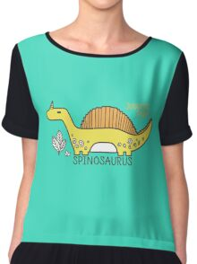 Dinosaurs, Jurassic Park. Adorable seamless pattern with funny dinosaurs in cartoon Chiffon Top