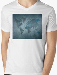 World map blue Mens V-Neck T-Shirt