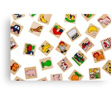 Generic Wooden Toys Representing Objects and Animals Canvas Print