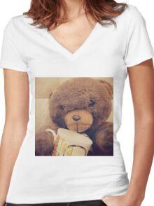 Teddy lovee Women's Fitted V-Neck T-Shirt