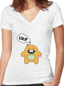 Cartoon monsters in a flat style.  LOL Women's Fitted V-Neck T-Shirt
