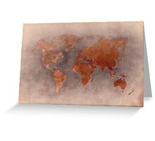 World map brown Greeting Card