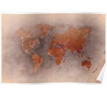 World map brown Poster